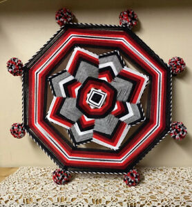 "Beautiful Mandala Eye Of God Fiber Art Yarn God's Eye Wall Hanging 19"" Folk Art"