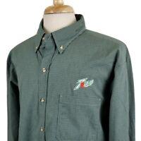 Seven Up Riverside Long Sleeve Button Down Uniform Shirt XL 18-18.5 Green Check