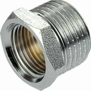 """3/4"""" x 1/2"""" Male x Female Reduction Nipple Union Fittings Chrome Plated Brass"""