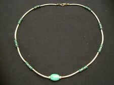 "14kt Gold Filled Malachite Stone Necklace 18"" Long ~ 9.35 Grams"