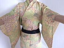 Authentic VINTAGE giapponesi donna kimono, Seta, Giallo/Fiori (G338)