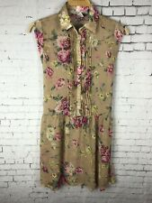 AMERICAN RAG CIE DRESS WOMEN'S SHEER FLORAL ROSE BOHO LIGHTWEIGHT BEIGE (BAG)