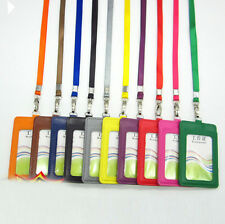 1Pcs PU Vertical ID Badge Card Holder With Lanyard ID Badge Credit Double Slot