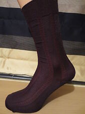 BROWN patterned nylon socks. Mid calf length. UK size 6-10.