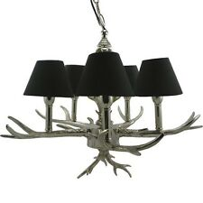 Lustre ramure NOIR ARGENT 5 ampoules / branches petits abat-jours Cerf Arbre