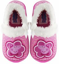 PEPPA PIG Girls Pink Plush Faux-Fur Slippers NWT Toddler's Size 6, 7, 8, 9 or 10