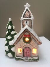 Vtg Lighted Ceramic Lighted Christmas Church Music Box Toyo Made In Japan