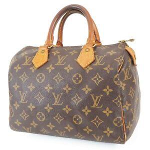 Authentic LOUIS VUITTON Speedy 25 Monogram Boston Handbag Purse #39300