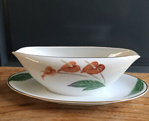 Noritake 1947 Backmark Gravy Dish, Attached Underplate Gold Trims Excellent