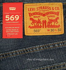 Levis 569 Jeans New Mens Loose Straight Size 30 X 32 INDIE BLUE Levi's NWT