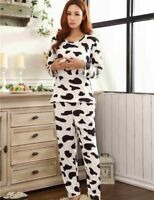Women Pyjamas Full Sleeve Pajamas Sets Milk Cow Print Sleepwear
