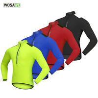 Men Cycling Jersey Half Zipper Long Sleeve Reflective Bike Tops Breathable M-3XL