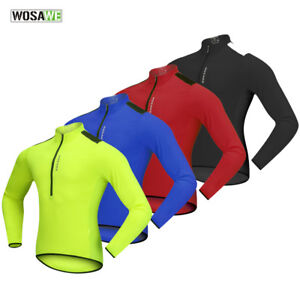 Men's Cycling Jersey Half Zipper Long Sleeve Reflective MTB Bike Tops Breathable