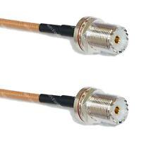 RG400 Silver UHF Female BULKHEAD to UHF Female BULKHEAD Coax RF Cable USA Lot