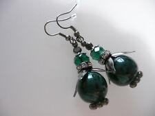 Vintage Art Deco Style Czech Crystal & Mottled Ceramic Gunmetal Long Earrings