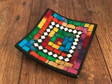 Beautiful Mosaic Handmade Ceramic Glass Tile Bowl Dish Fruit Decoration Rainbow