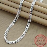 Echt 925 Silber 6mm Halskette Unisex Schlangenkette edlen Schmuck Top Qualität.