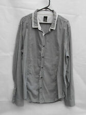 Yd. Men's Grey Casual Dress Work Shirt Long Sleeve Button Up Slim Fit - Sz XXL