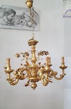 LAMPADARIO CLASSICO LEGNO METALLO FOGLIA ORO ROSE CRISTALLI TRASP. AMBRA 6 LUCI