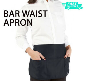 BAR WAIST APRON Work Wear SHORT Bar Cafe catering Waitress Hospitality Unisex