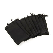 10x Soft Black Pouch Bags for Glasses Sunglasses Cell Phone Cleaning Cloth Dust