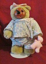 1990 Raikes Courtney Bear Limited Edition Wood Face & Feet - Pajamas Teddy Bear