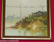 abstract landscape knife painting signed Dand Dano Seascape cliff Power lines