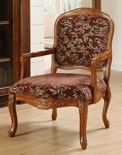 Curved Arm Chair Merlot Floral Classic Oversized Accent Upholstered Living Room