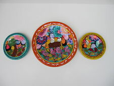POTTERY SET 3  FLORAL PLATE  GUERRERO MEXICAN FOLK ART