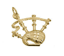 Solid 10K Yellow Gold BAGPIPE Pendant Charm BAGPIPER Player Jewelry