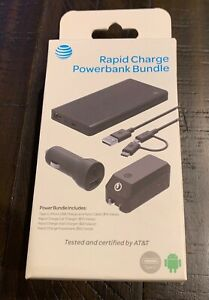 AT&T Rapid Charge 10K mAh Powerbank bundle w/ Car & Home Charger 4pc Set