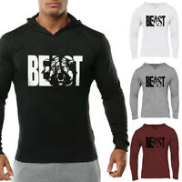 The Beast Men's Gym Long Sleeve Hoodies Sweatshirt Casual Workout FitnessT-Shirt
