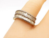 925 Sterling Silver - Vintage Topaz Two Row Wavy Smooth Band Ring Sz 8 - R14434