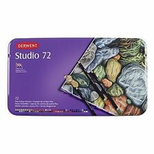 Derwent Studio Coloured Pencil Authentic Metal Tin 72 Colour Pencils