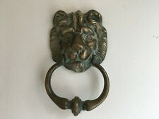 Old Heavy Brass Lion Head Door Knocker Country House Barn Salvage Patina
