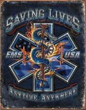 Metal Sign Fire Police Rescue EMS Saving Lives Anytime Anywhere NEW