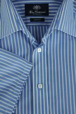 Ben Sherman Hombre Azul&Blanco Algodón de Rayas Poliéster Camisa Informal M