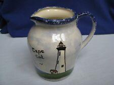 Cape Cod Lighthouse Water Milk Pitcher Blue SpongeWare HP Ceramic Artist Signed
