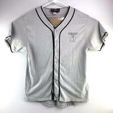 VTG 1997 Harley Davidson Las Vegas Mens L Baseball Softball Jersey Gray Shirt