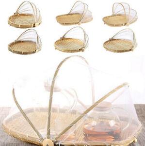 Hand-WovenFood Serving Tent BasketTray Bread Storage Basket PicnicMesh Net Cover