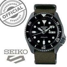 Seiko 5 Sports Black Dial Green Canvas Strap Auto Men's Watch SRPD65K4 RRP £280