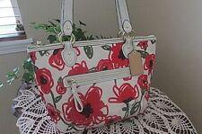 Coach Hallie Poppy Floral Multi Zip Top 23263 Multi-Color Sateen Canvas handbag
