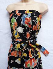 BNWT NEXT Bandeau summer boob tube black bright floral stretch Jersey maxi dress