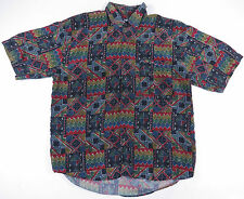 VTG 80S 90S ABSTRACT GEOMETRIC ALL OVER PRINT S/S SILK BUTTON UP SHIRT JAZZ EUC
