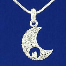 "Moon Star Made With Swarovski Crystal Pendant Necklace Charm Jewelry 18"" Chain"