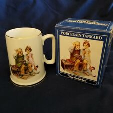 "Norman Rockwell Porcelain Coffee Tea Mug ""The Cobbler"" Gold Trim new in box"
