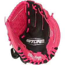 Rawlings Kids' Storm 10 in T-ball Infield Glove | Pink T-Ball Glove | LEFT THROW