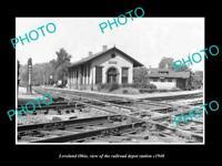 OLD POSTCARD SIZE PHOTO OF LOVELAND OHIO THE RAILROAD DEPOT STATION c1940