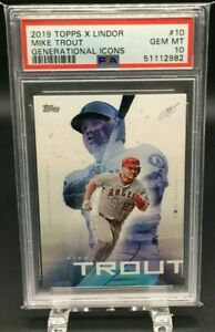 2019 TOPPS X LINDOR MIKE TROUT GENERATIONAL ICONS GEM MT PSA 10 (7504