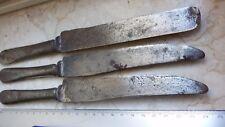 Antico tris coltelli grammi 284 manico ferro pieno inizio '900 vintage